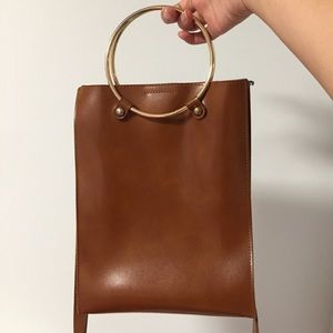 Convertible brown bag with ring handles